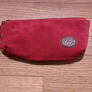 Red Suede Clutch